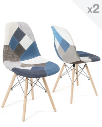 Chaises Scandinaves Patchwork Bleu - Kayelles - lot de 2 - NADIR