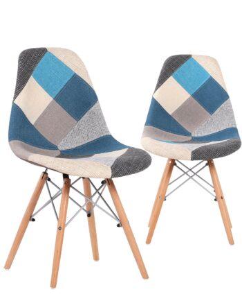 chaises scandinaves patchwork bleu - nadir
