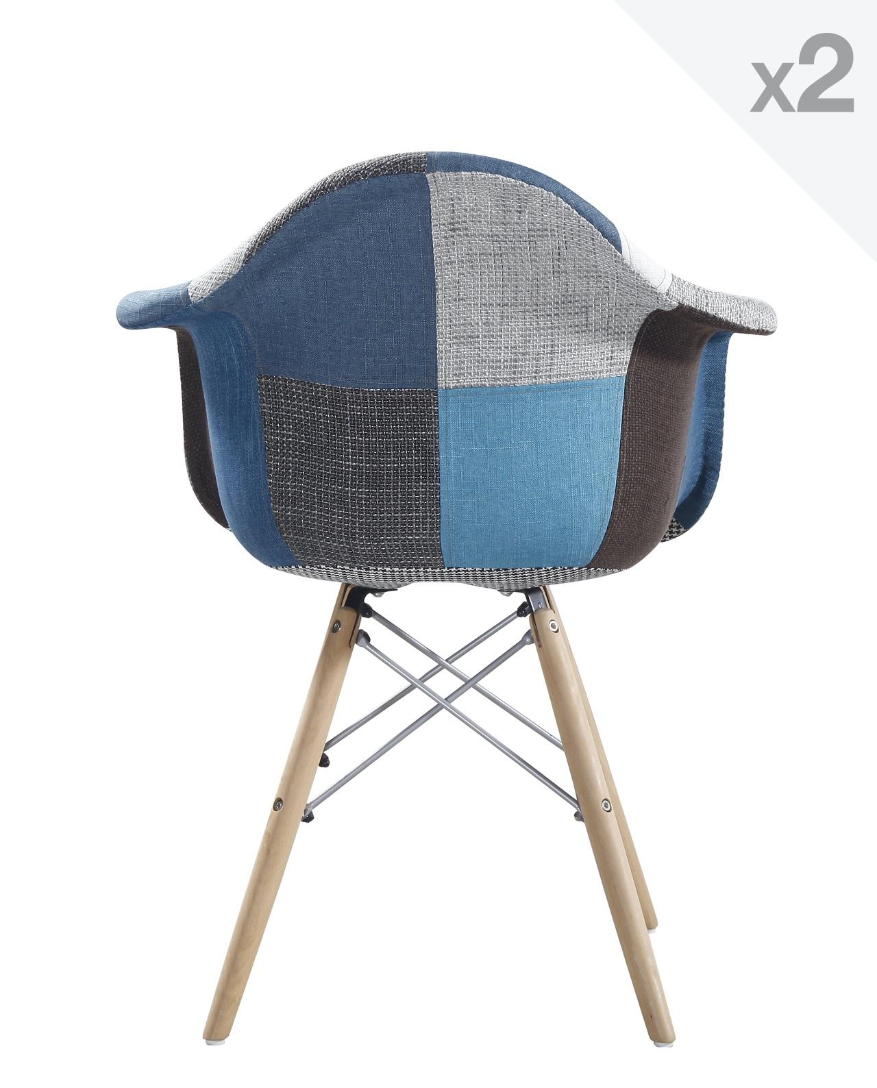 fauteuil scandinave patchwork bleu nador - Fauteuil Scandinave Patchwork