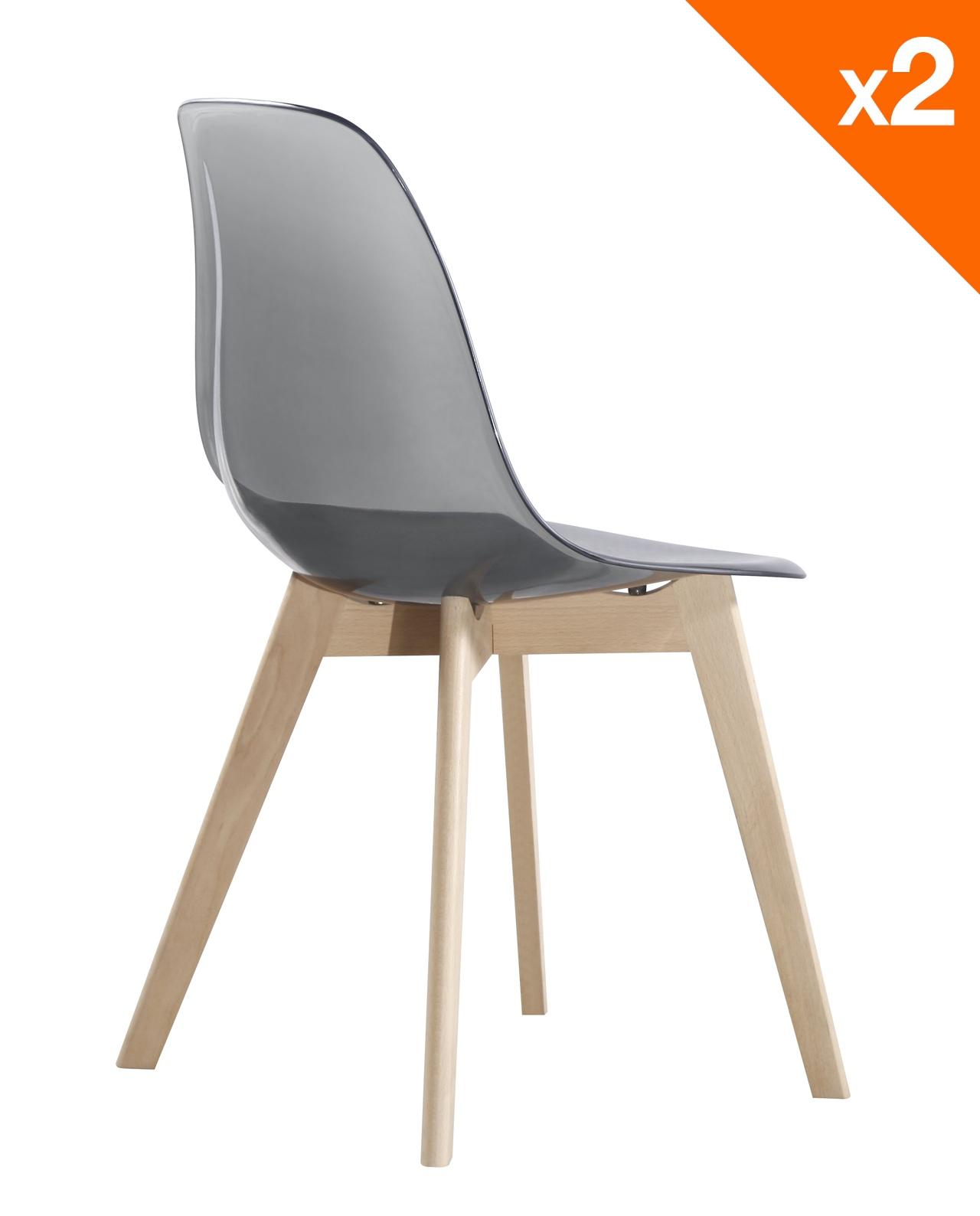 LAO chaise scandinave Lot de 2 Gris fumé