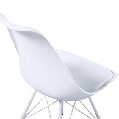 Lot de 2 Chaises design - blanc - metal avec coussin