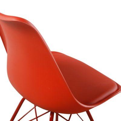 Lot de 2 Chaises design - rouge - metal avec coussin