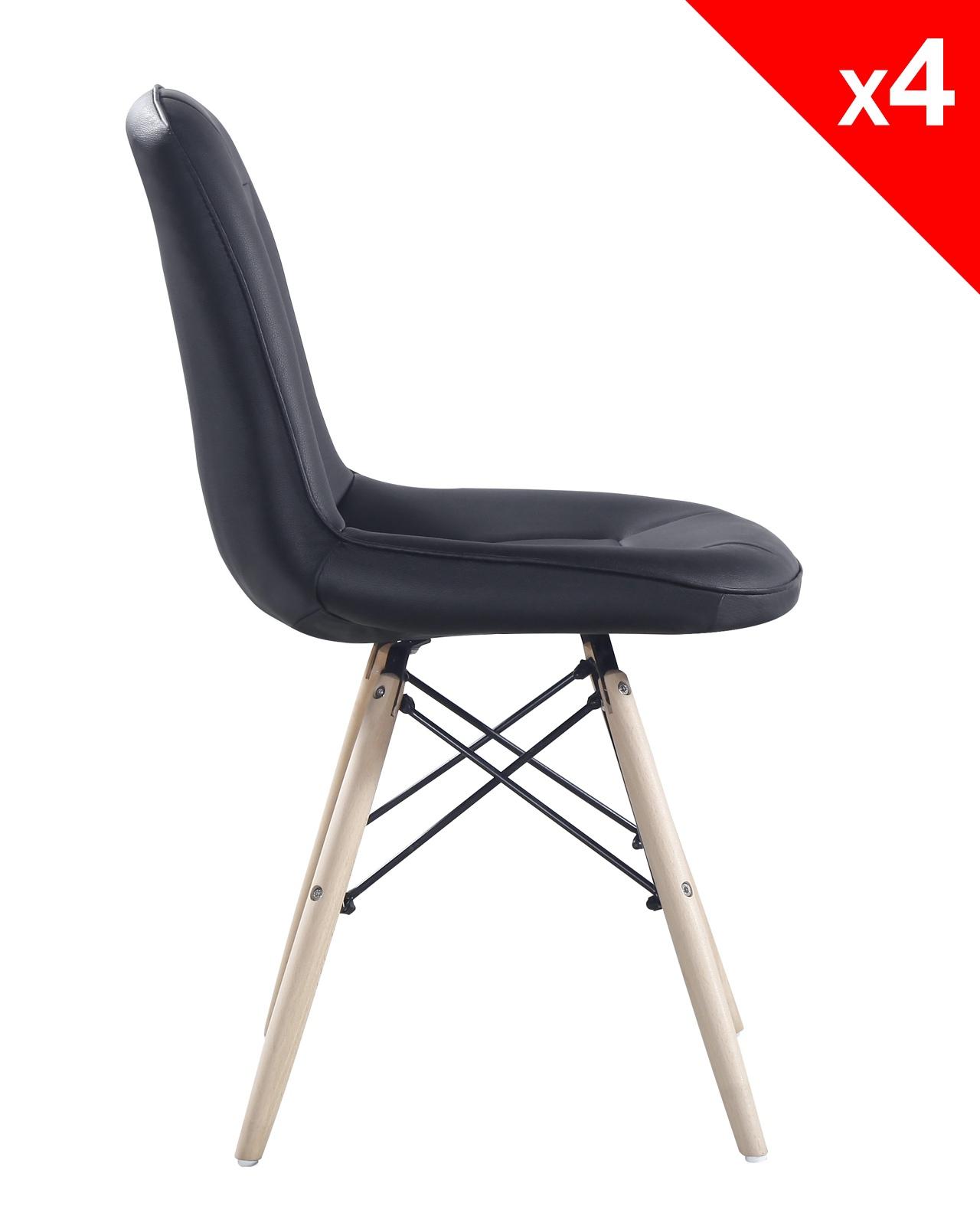 kong chaise scandinave matelass e lot de 4. Black Bedroom Furniture Sets. Home Design Ideas