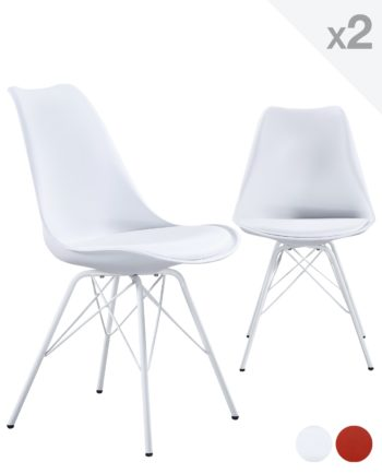 STEP chaise design metal rembourree - Blanc