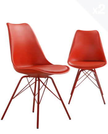 step-chaise-design-metal-rembourree-rouge