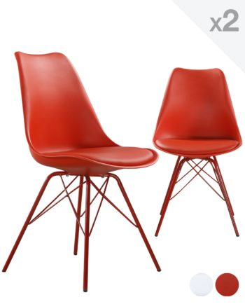 STEP chaise design metal rembourree - Rouge