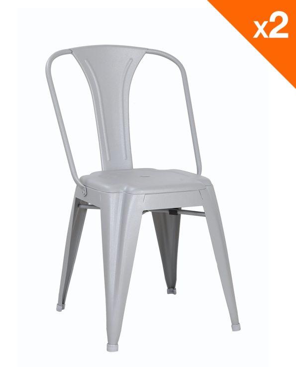 Chaise metal industriel - Tolix bistrot - gris-clair