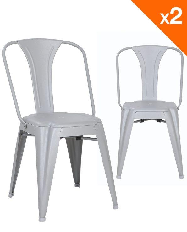 Chaise métal industriel - lot de 2 chaises bistrot - gris clair - kayelles