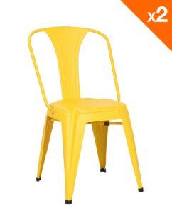 Chaise metal industriel - Tolix bistrot - jaune