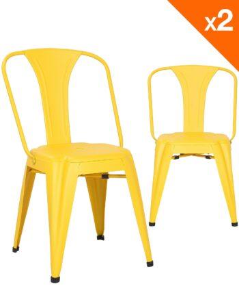 Chaise métal industriel - lot de 2 chaises bistrot - jaune - kayelles
