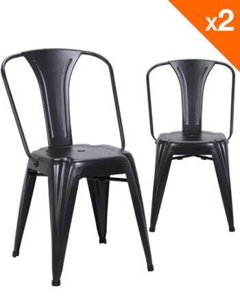 Chaise metal industriel - lot de 2 chaises bistrot - noir - kayelles