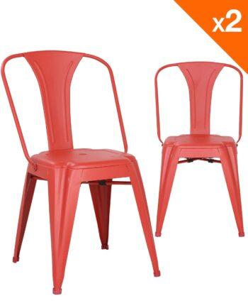 Chaise métal industriel - lot de 2 chaises bistrot - rouge - kayelles