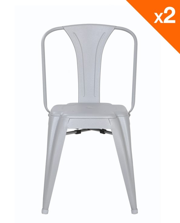Chaise Tolis industriel - Lot de 2 chaises bistrot Kayelles