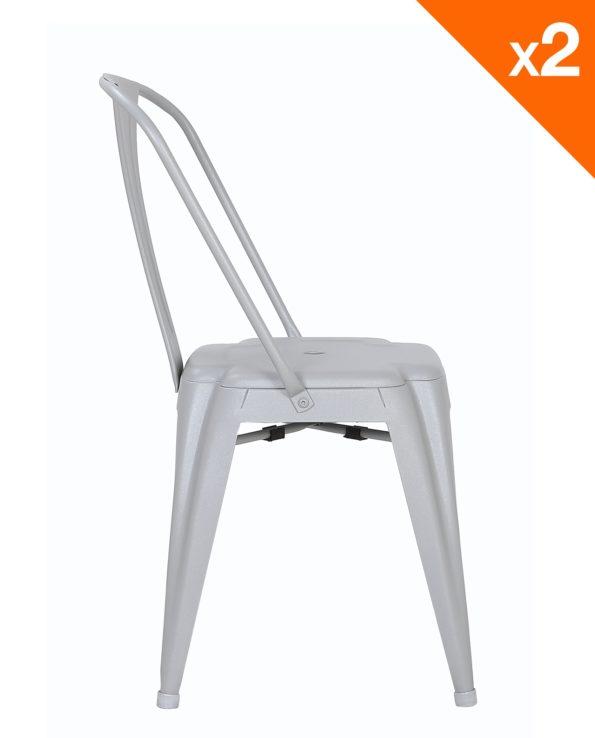 Lot de 2 chaises Tolix industrielles - gris - kayelles