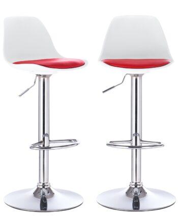 Tabouret bar confort coussin cuisine - SIG - blanc et rouge