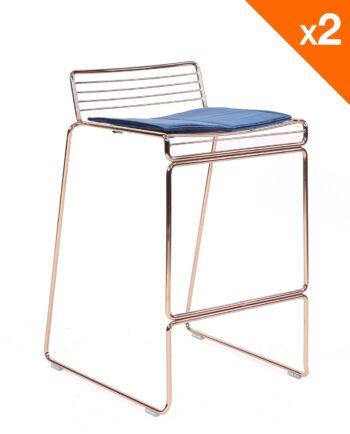 Chaise de bar design filaire métal - coussin en velours - kayelles