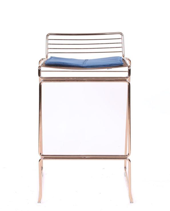 chaise de bar design fil métal avec coussin en velours ROSSO