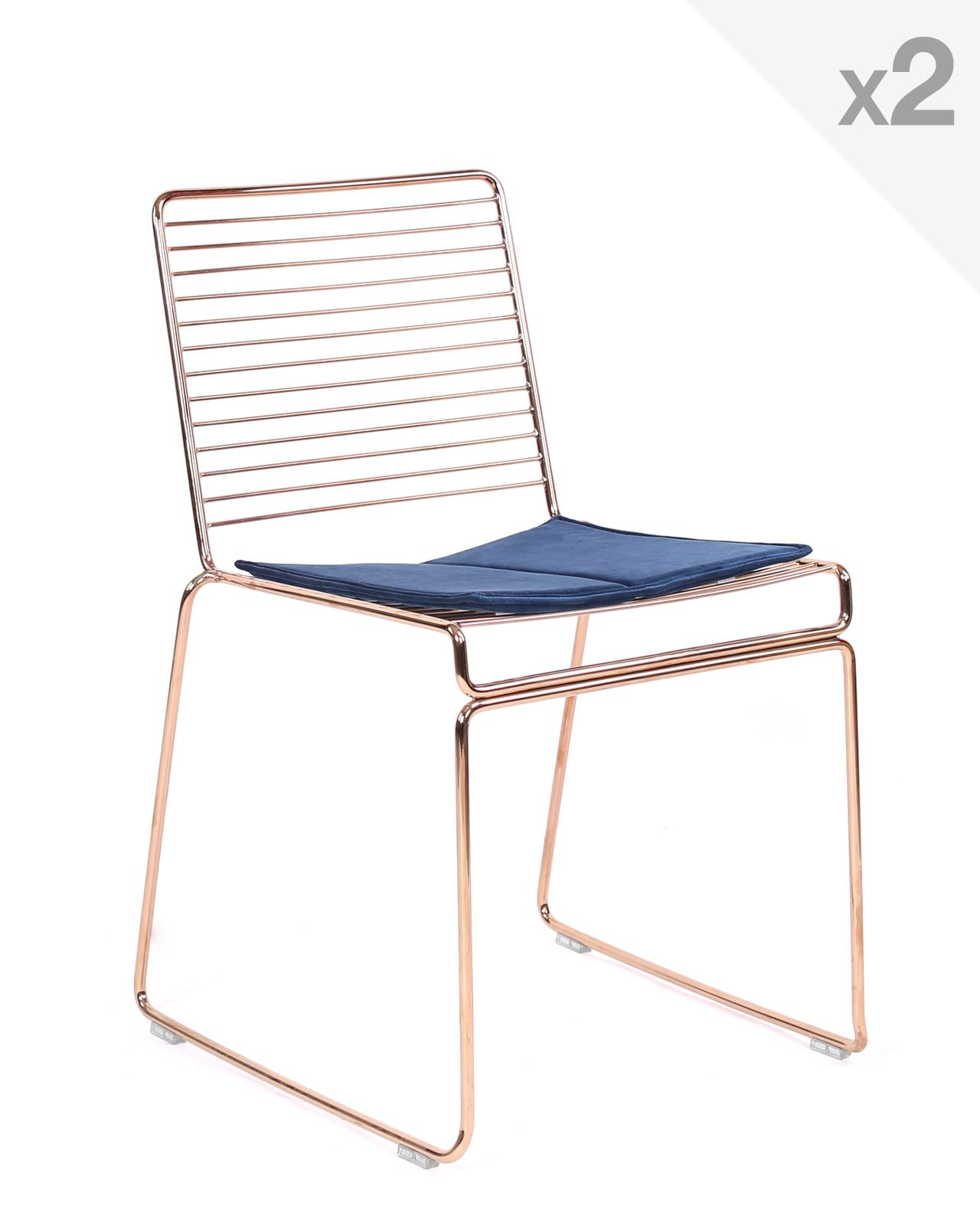 ROSSA chaise design fil métal lot de 2