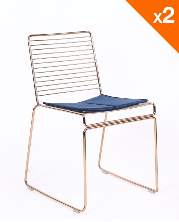 Chaise design fil métal et coussin en velours - or rose Kayelle