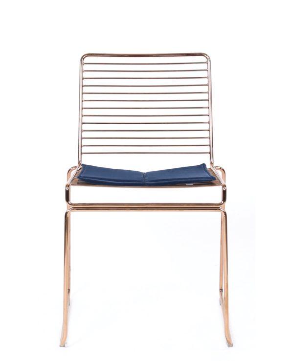 Chaise fil métal design - coussin en velours ROSSA Kayelles