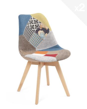 chaise patchwork scandinaves, tulipe lot de 2, salle à manger, cuisine