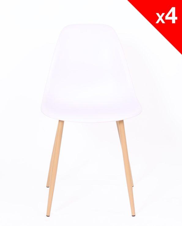 Chaise Scandinave - Lot de 4 chaises - NOVA CUisine, Salle à manger - Blanc - Kayelles