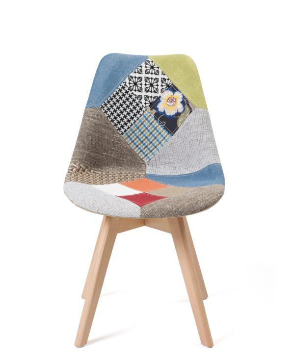 Chaises patchwork scandinave - Piètement bois Tulip - LAO Kayelles