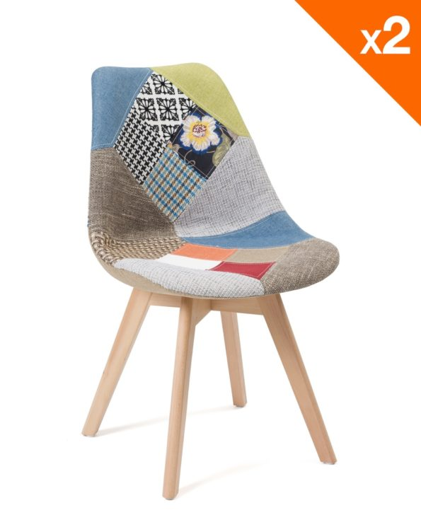 Lot de 2 chaises scandinaves - tulipe patchwork - salle à manger, cuisine