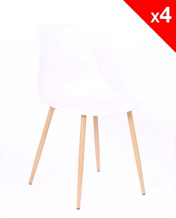 lot de 4 chaises Scandinaves NOVA - CUisine, salle à manger - Blanc