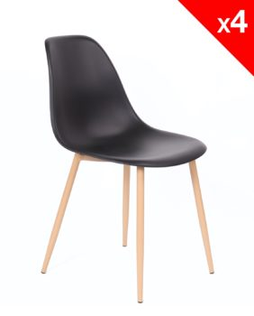 lot de 4 chaises Scandinaves NOVA - Cuisine, Salle à manger - Noir - Kayelles