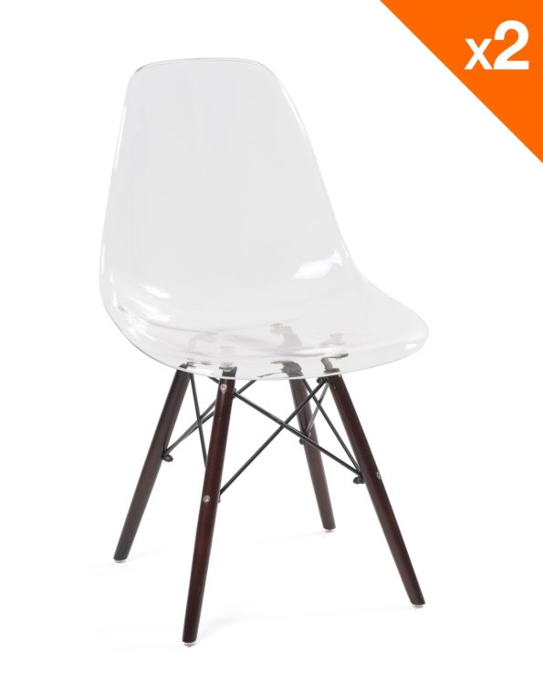 Lot de 2 chaises scandinaves transparentes - NEO Kayelles