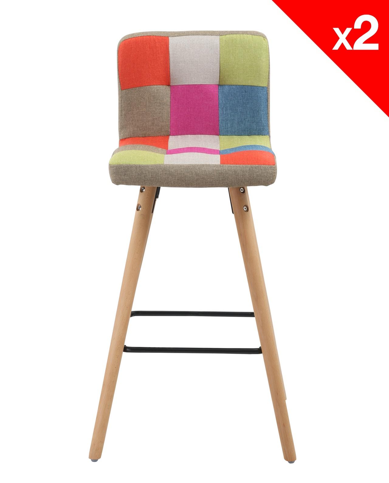 alva lot de 2 tabourets de bar scandinave patchwork. Black Bedroom Furniture Sets. Home Design Ideas