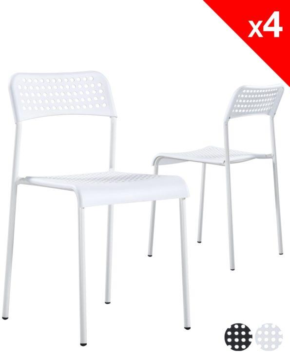 chaises empilables lot de 4 - ECHO (blanc) pas cher