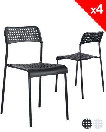 chaises empilables lot de 4 - ECHO (noir) pas cher