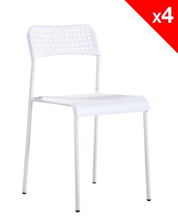 chaise pas cher empilable (blanche) métal et plastique
