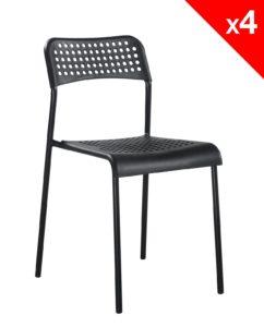 chaise pas cher empilable (noir) métal et plastique