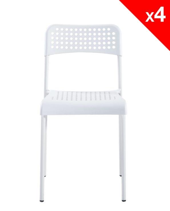 Chaises pas cher empilable - Lot de 4 (blanc)
