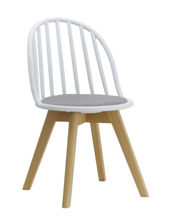 Chaise scandinave windsor avec coussin (blanc et gris)