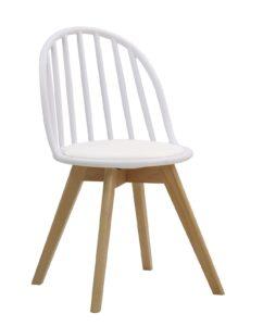 Chaise scandinave windsor avec coussin (blanc)