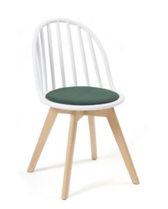 Chaise Scandinave Windsor - Coussin - Bold - Chaise bistrot - Blanc Vert