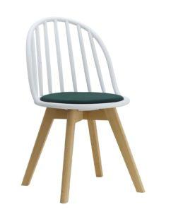 Chaise scandinave windsor avec coussin (blanc et vert)