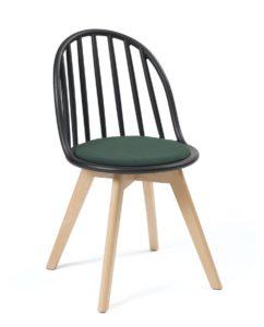 Chaise Scandinave Windsor - Coussin - Bold - Chaise bistrot - Noir Vert