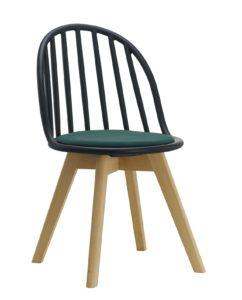 Chaise scandinave windsor avec coussin (noir et vert)