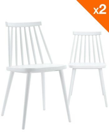 Chaises bistrot rétro BAO - Blanc - lot de 2