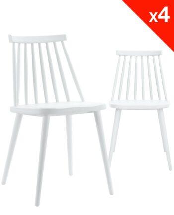 Chaises bistrot rétro BAO - Blanc - lot de 4