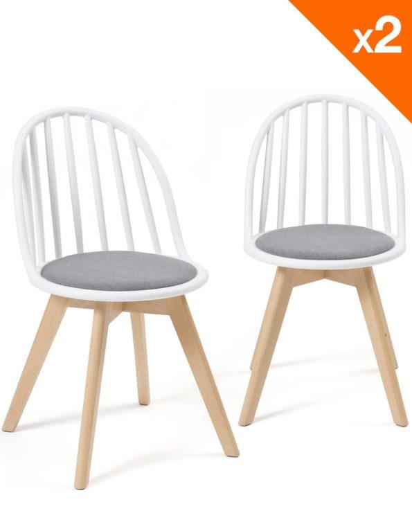 Lot de 2 chaises Bistrots Coussin - Bold WIndsor - Blanc Gris
