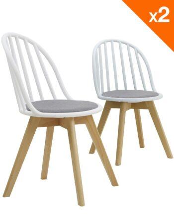 Lot de 2 chaises scandinaves bistrot avec coussin - Blanc et gris