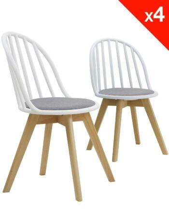 Lot de 4 chaises scandinaves bistrot avec coussin - Blanc et gris
