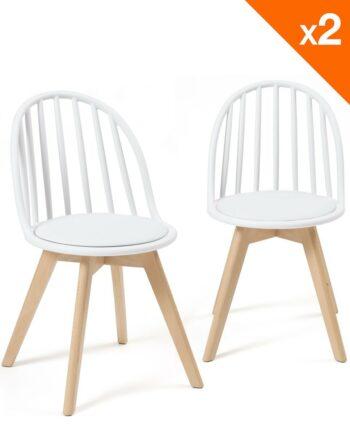 Lot de 2 chaises Bistrots Coussin - Bold WIndsor - Blanc