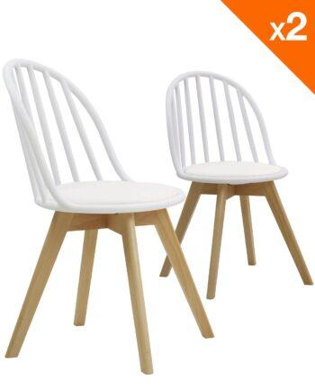 Lot de 2 chaises scandinaves bistrot avec coussin - Blanc